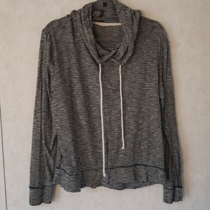 Jcrew light weight cotton hoody black stripes Med